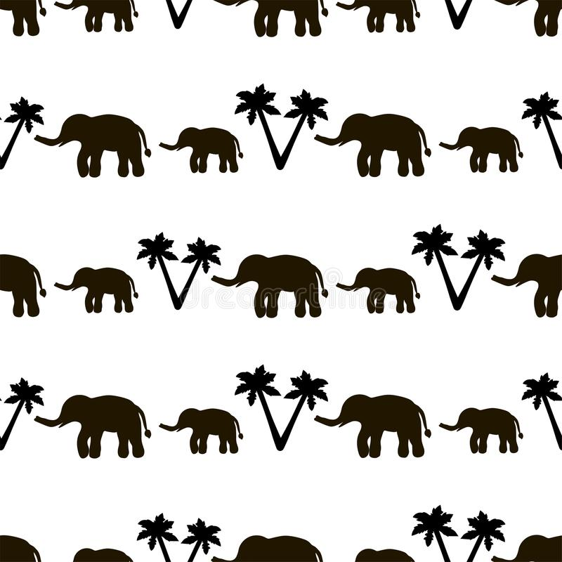 Seamless pattern with black elephants and their babies, palm tre. Es on the white background. Vector illustration royalty free illustration