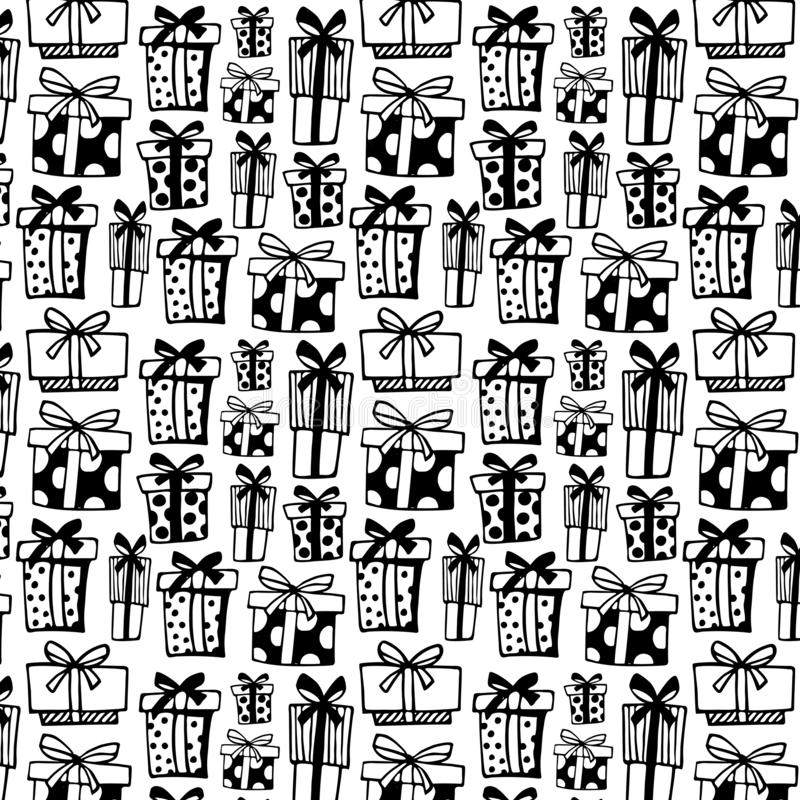 Seamless pattern with black gift boxes on white background. vector illustration