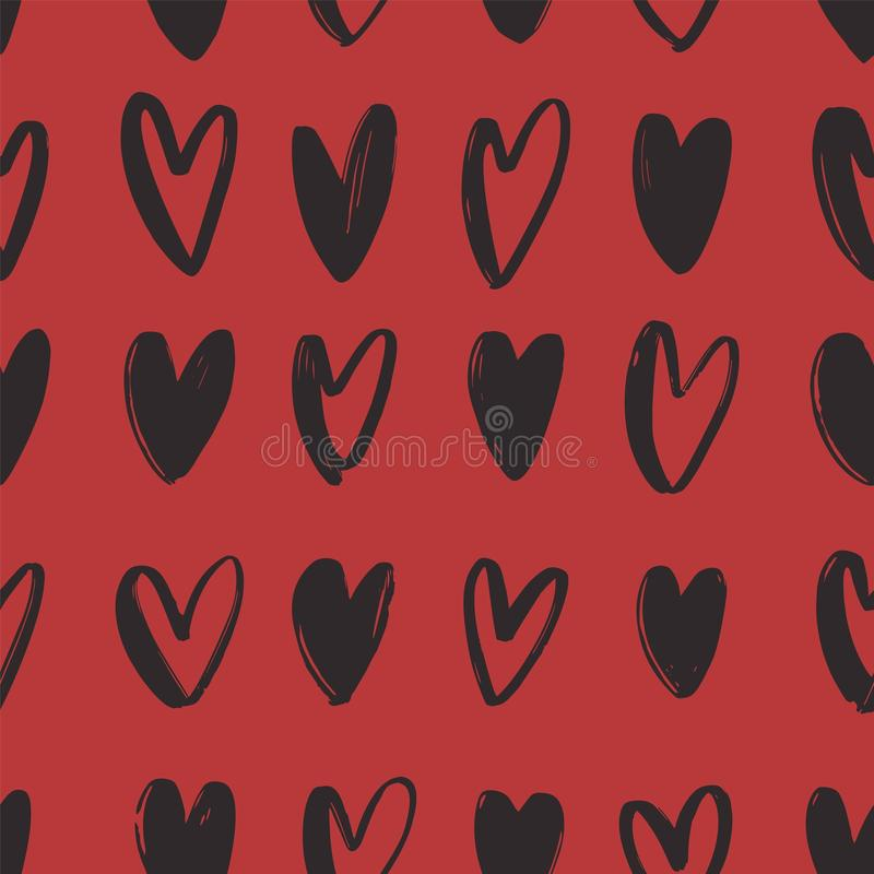Seamless pattern with black hand drawn hearts on red background. Valentine s day backdrop with love, romance and passion. Symbols. Vector illustration for vector illustration