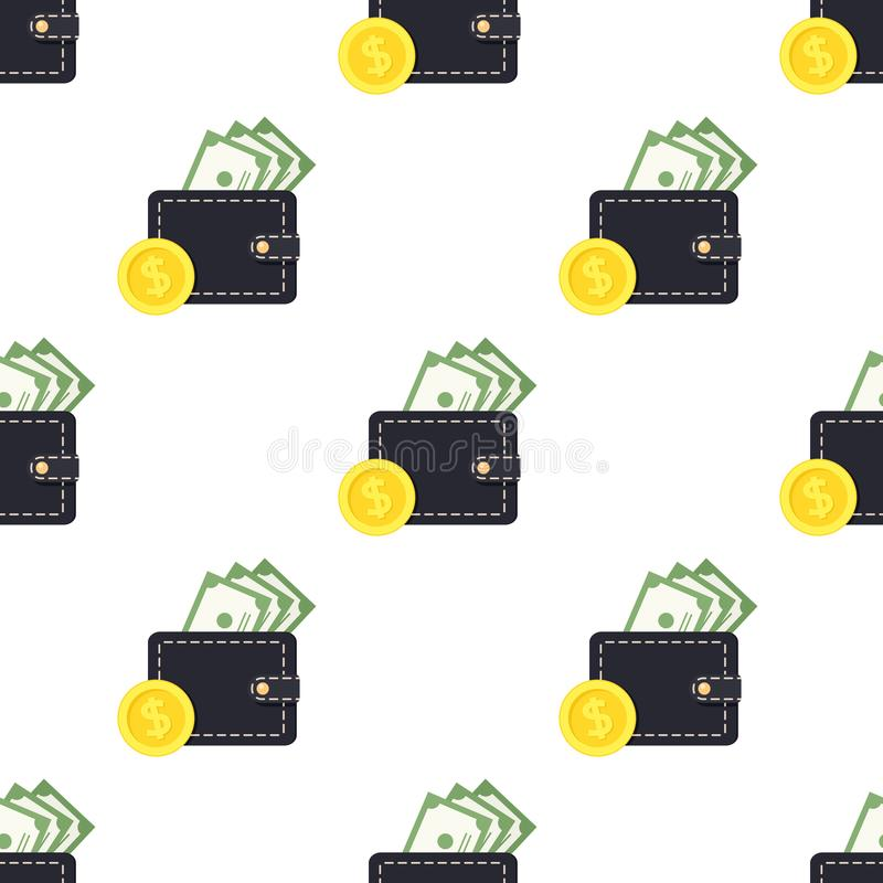 Wallet Banknotes Coin Seamless Pattern royalty free illustration