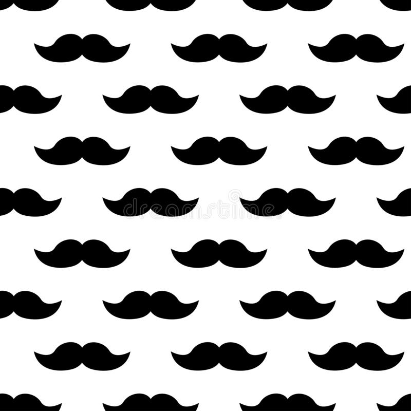 Seamless pattern with black mustaches. Vector illustration royalty free illustration