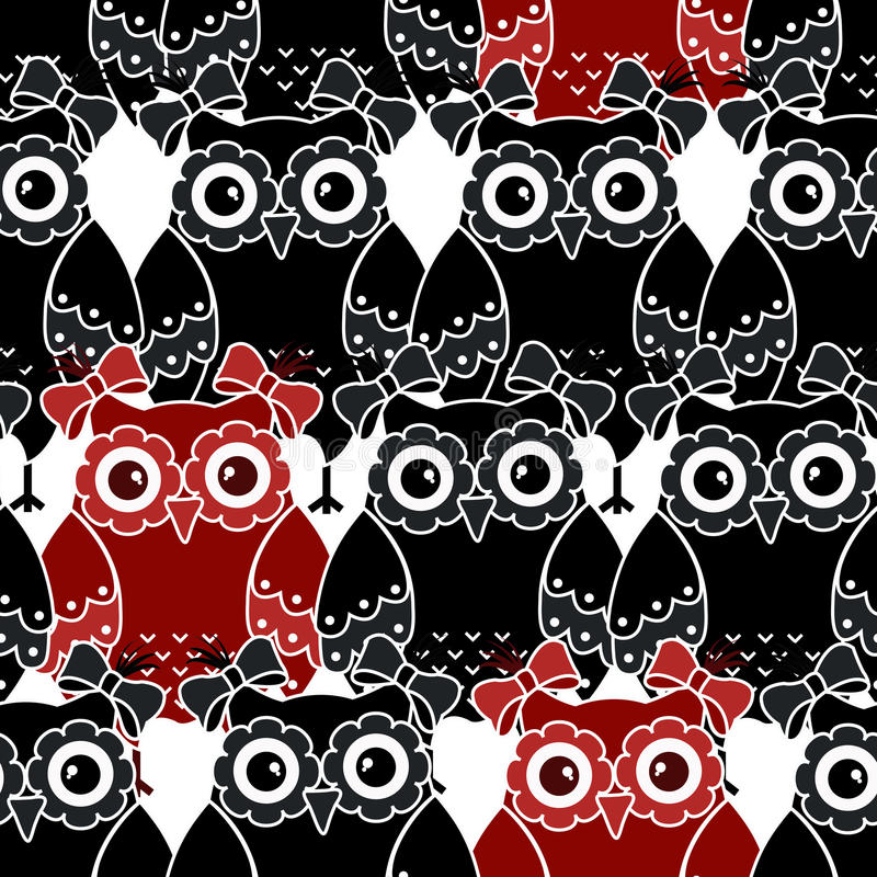 Seamless pattern with black and red owls vector illustration