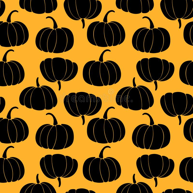 Seamless pattern with black silhouette of pumpkins on orange background. Art can be used for halloween royalty free illustration