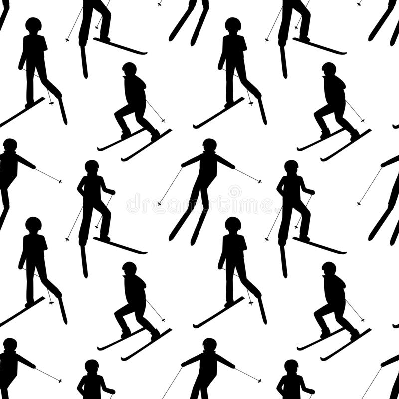 Seamless pattern with black silhouettes of skiing people: man; woman; child. Winter sport games. vector illustration