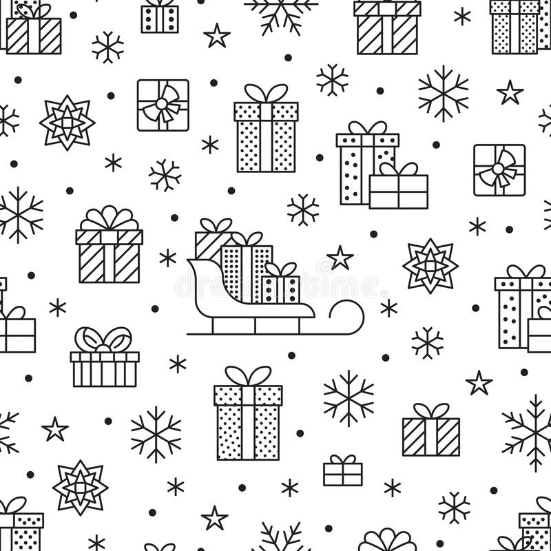 Seamless pattern with black snowflakes and presents on white background. Flat line gift boxes icons, cute repeat vector illustration