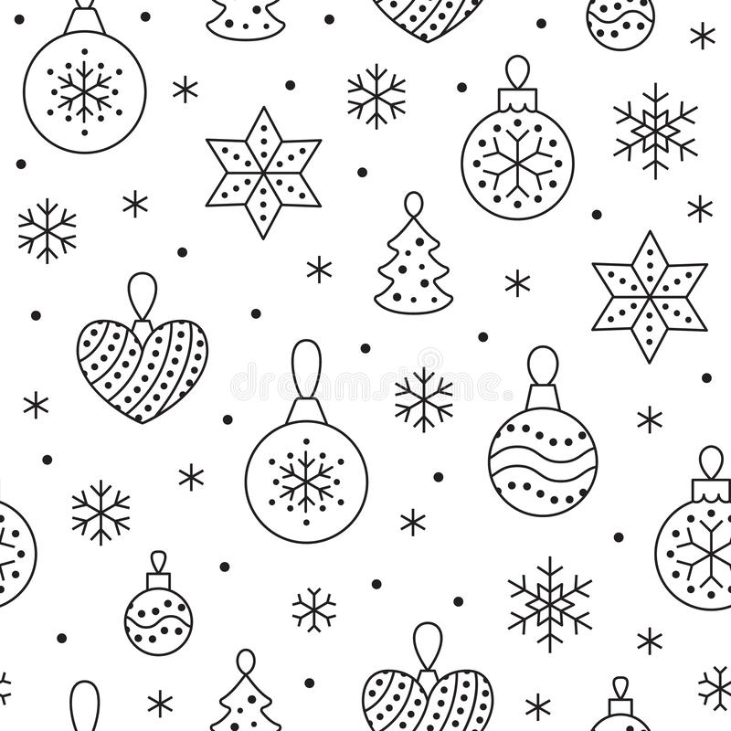 Seamless pattern with black snowflakes and toy balls on white background. Flat line pine tree decoration icons, cute. Repeat wallpaper. Nice element for royalty free illustration