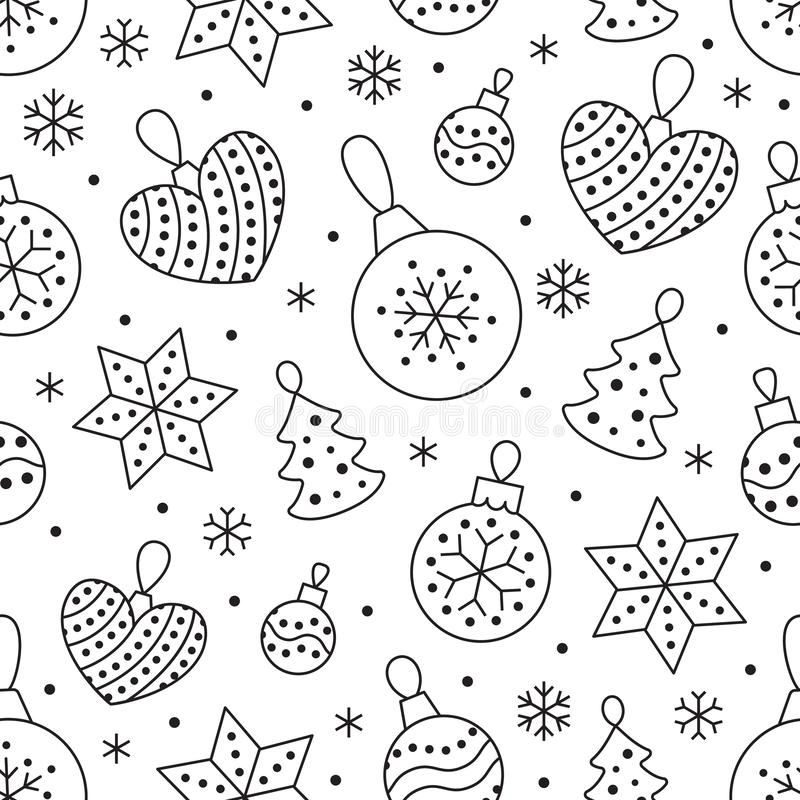 Seamless pattern with black snowflakes and toy balls on white background. Flat line pine tree decoration icons, cute. Repeat wallpaper. Nice element for stock illustration