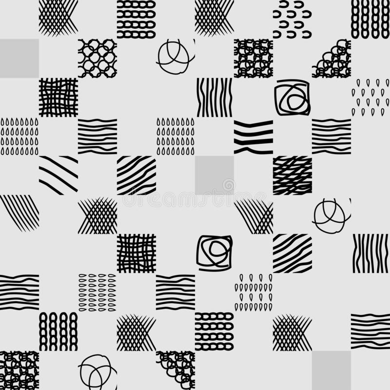 Seamless abstract hand drawn pattern with black strokes on a white background. Seamless pattern with black strokes on a white background. Abstract hand drawn stock illustration