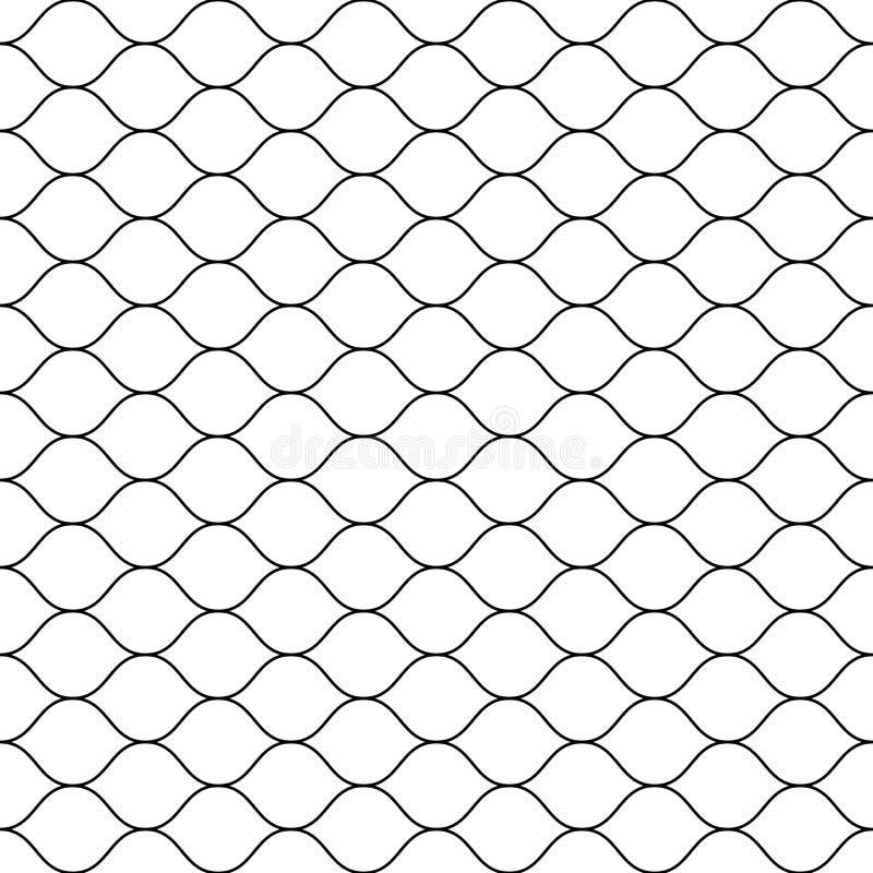 Seamless pattern, black thin wavy lines on white vector illustration
