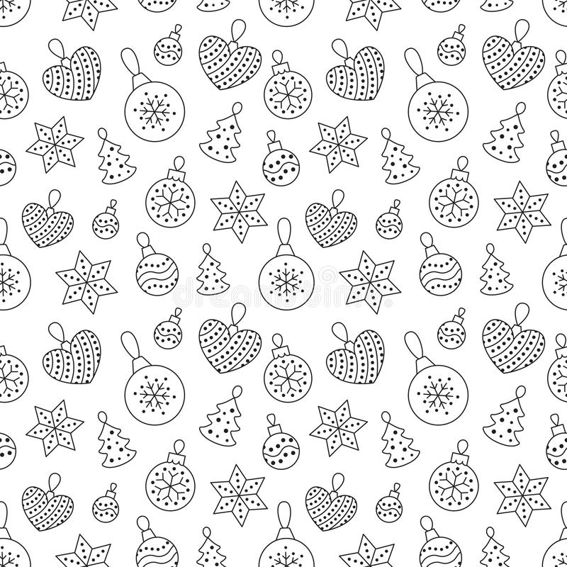 Seamless pattern with black toy balls, heart, star on white background. Flat line pine tree decoration icons, cute. Repeat wallpaper. Nice element for christmas stock illustration