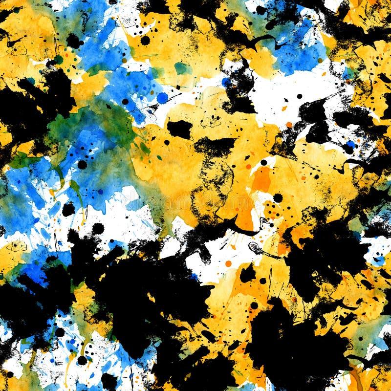 Seamless pattern of black, white, blue, yellow watercolor blots royalty free illustration