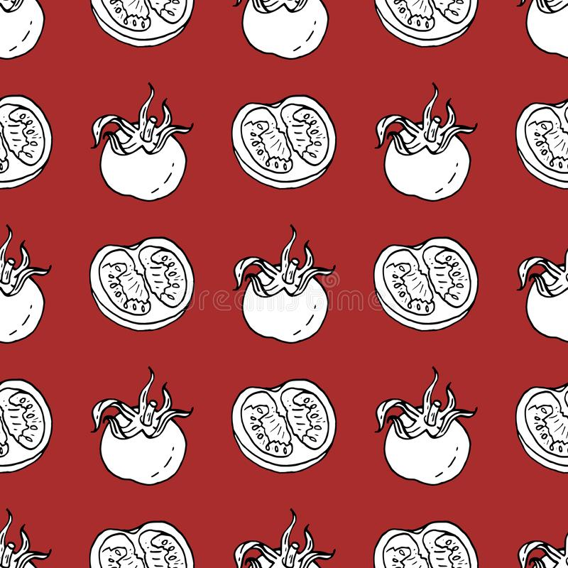 Seamless pattern with black and white contour tomatoes and tomato slices for your design vector illustration