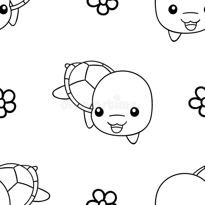 Seamless Pattern Black And White Cute Hand Drawn Turtle Doodle Coloring Pages Stock Vector Illustration Of Turtle Nature 181127647
