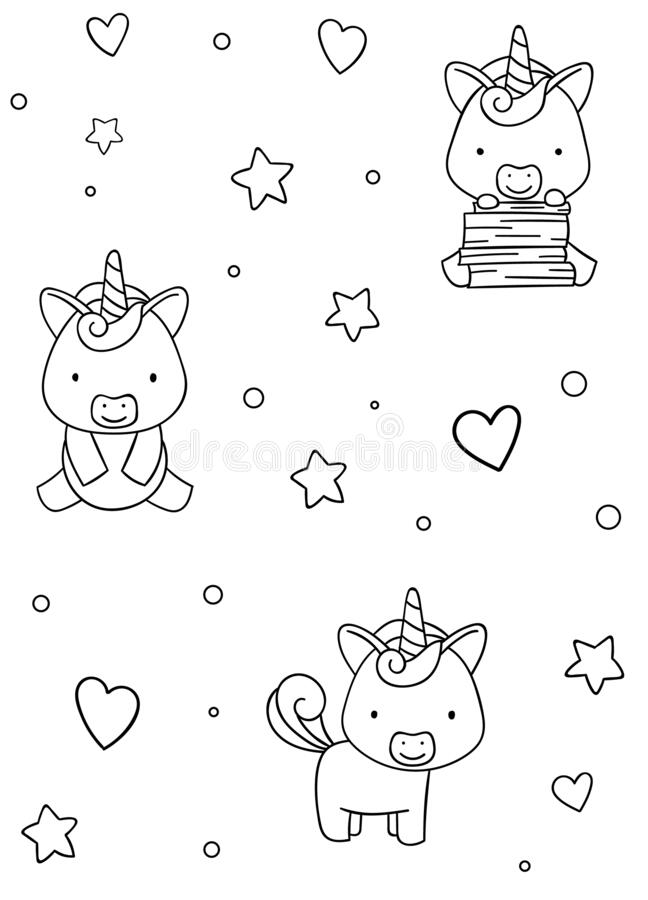 Seamless Pattern, Black And White Cute Hand Drawn Unicorn ...
