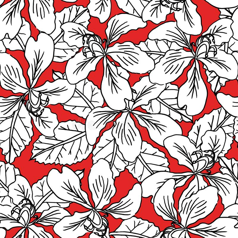 seamless pattern black and white flowers on red background for fashion textile, plant vector stock illustration