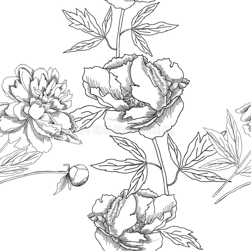 Seamless pattern with black and white flowers vector illustration