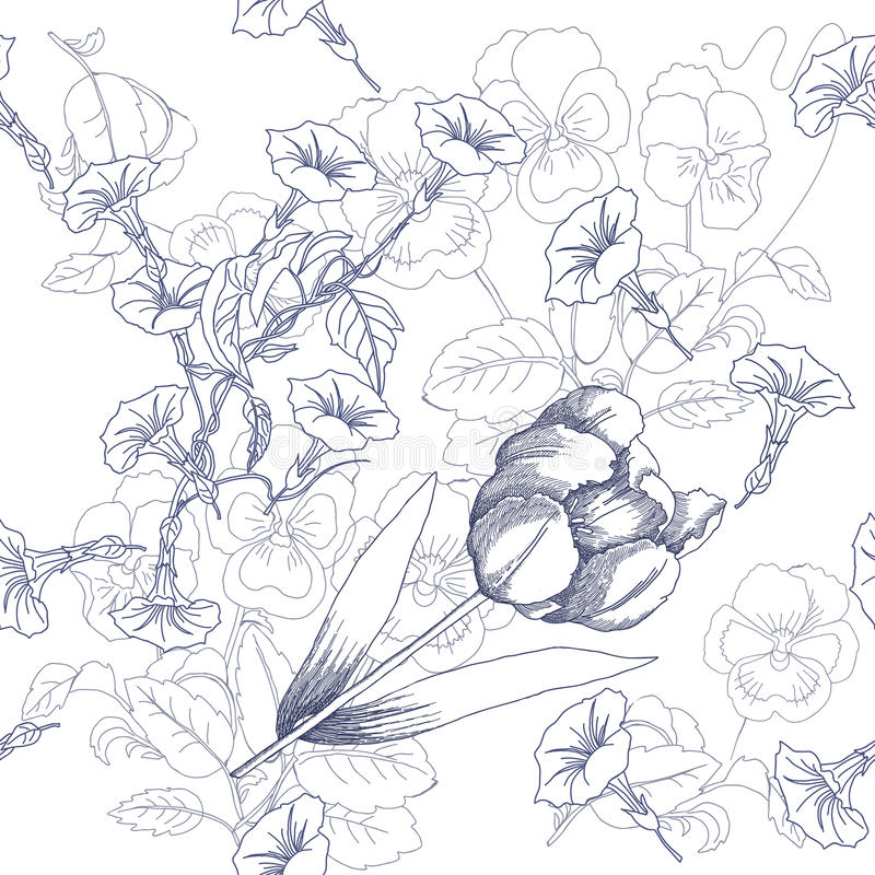 Seamless pattern with black and white flowers royalty free illustration
