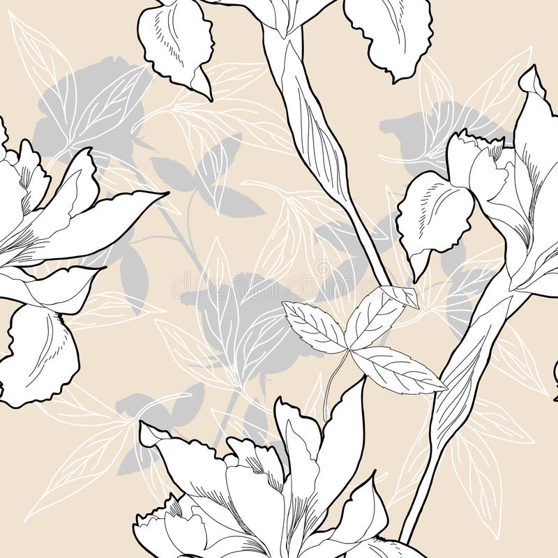 Seamless pattern with black and white flowers stock illustration