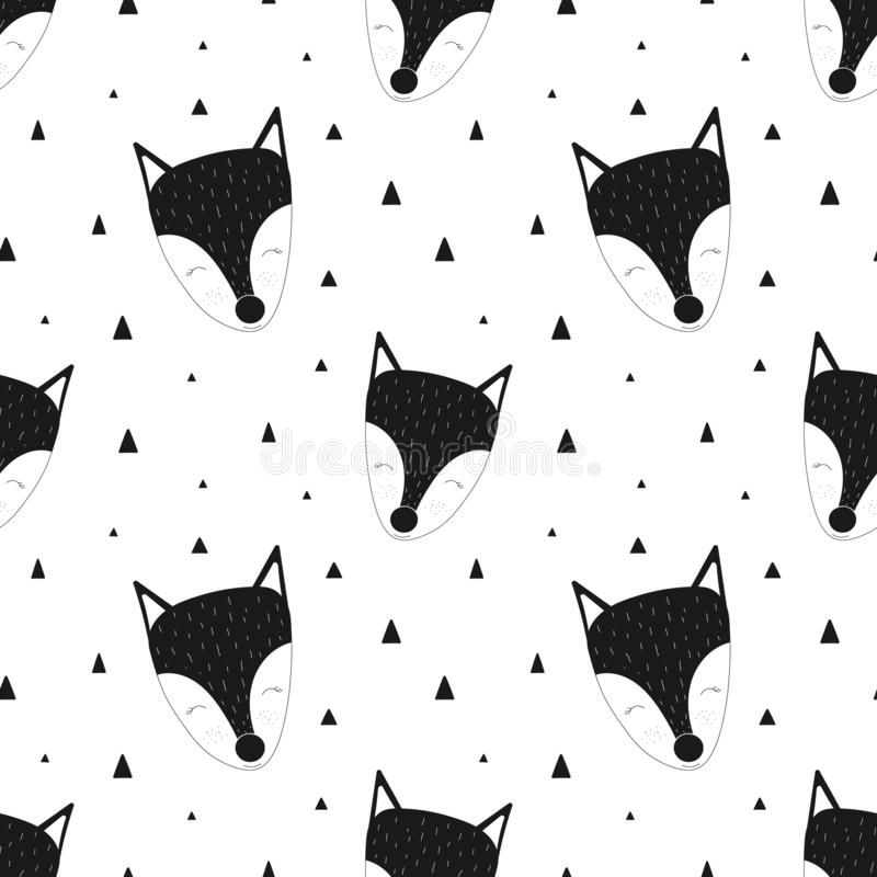 Seamless pattern of black and white fox. Vector scandinavian hand-drawn children illustration. For banner, postcard, textile, prin. T, wrapping paper, poster stock illustration