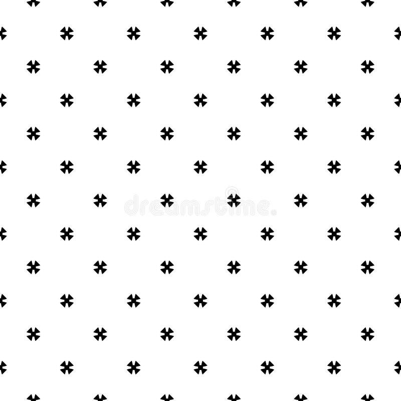 Seamless pattern, black & white minimalist texture. Vector monochrome seamless pattern, simple minimalist geometric background, small black cruciate figures on stock illustration