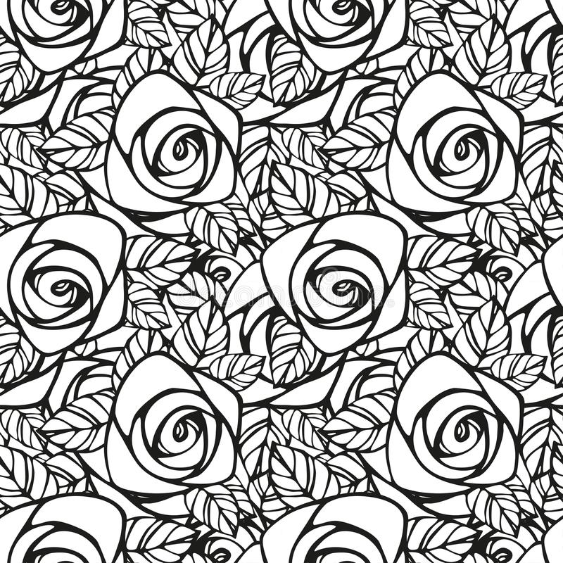 Black Flower Pattern Silhouette Stock Illustration: Seamless Pattern With Black And White Rose Silhouette