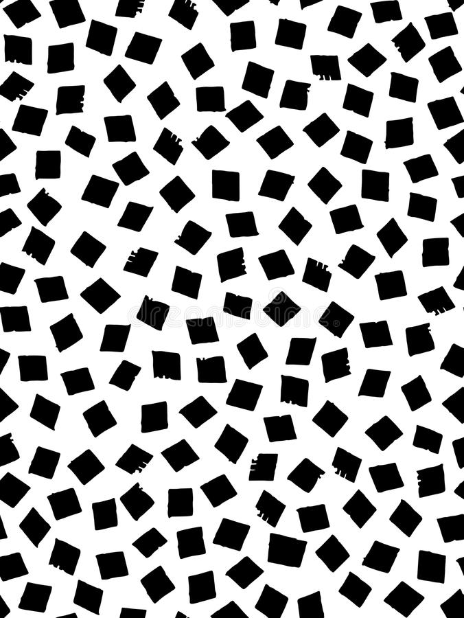 Seamless pattern in black and white with square shapes. Ink and pen. Hand drawn. Vector illustration stock illustration