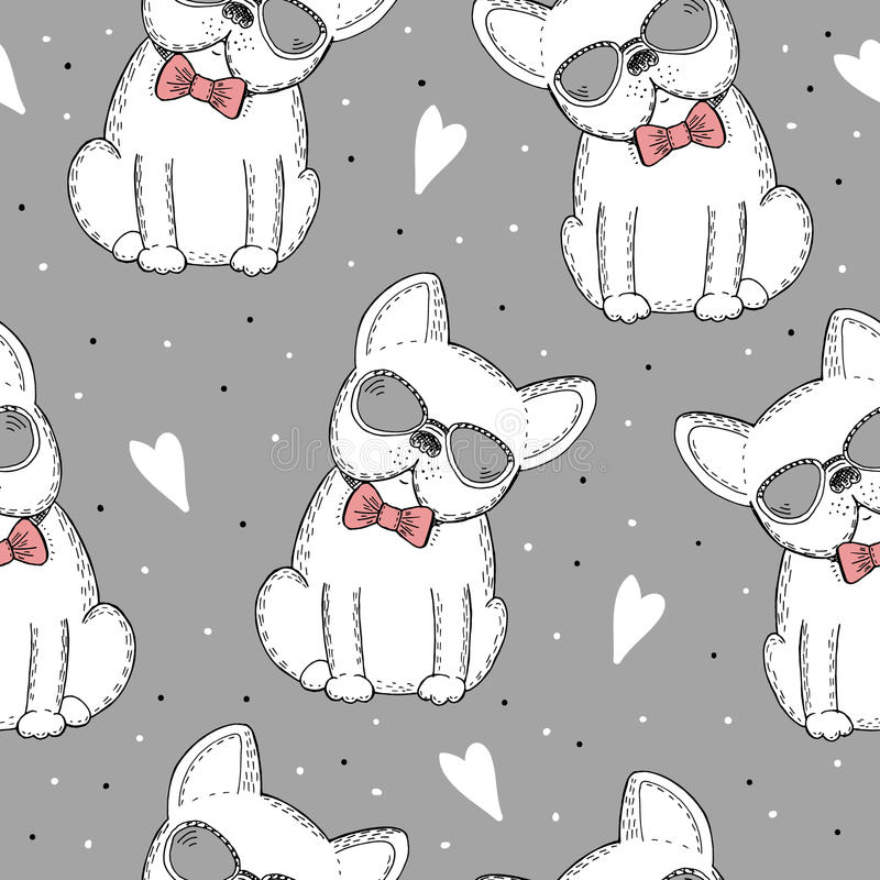 Seamless pattern with Black and white vector sketch of a dog. Vector Illustration royalty free illustration