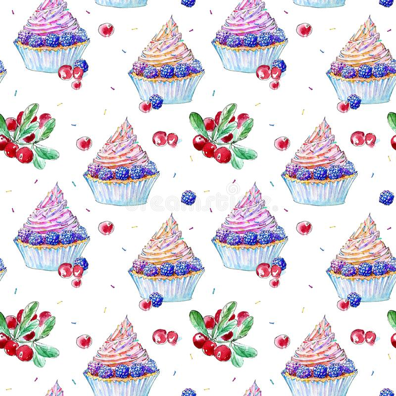 Seamless pattern of a blackberry cupcake and cranberry. vector illustration