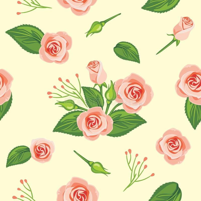 Seamless pattern with blooming pink rose stock photo