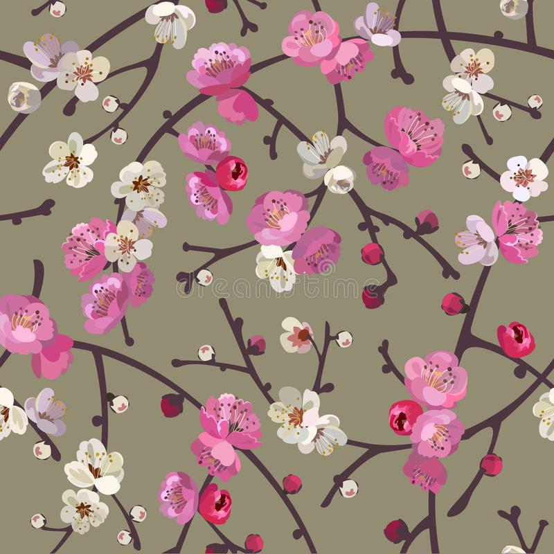 Seamless pattern with blooming sakura branches. Cherry blossoms floral background stock illustration