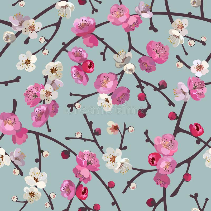 Seamless pattern with blooming sakura branches. Cherry blossoms floral background royalty free illustration