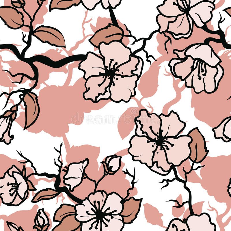 Seamless pattern with blooming tree branches royalty free illustration