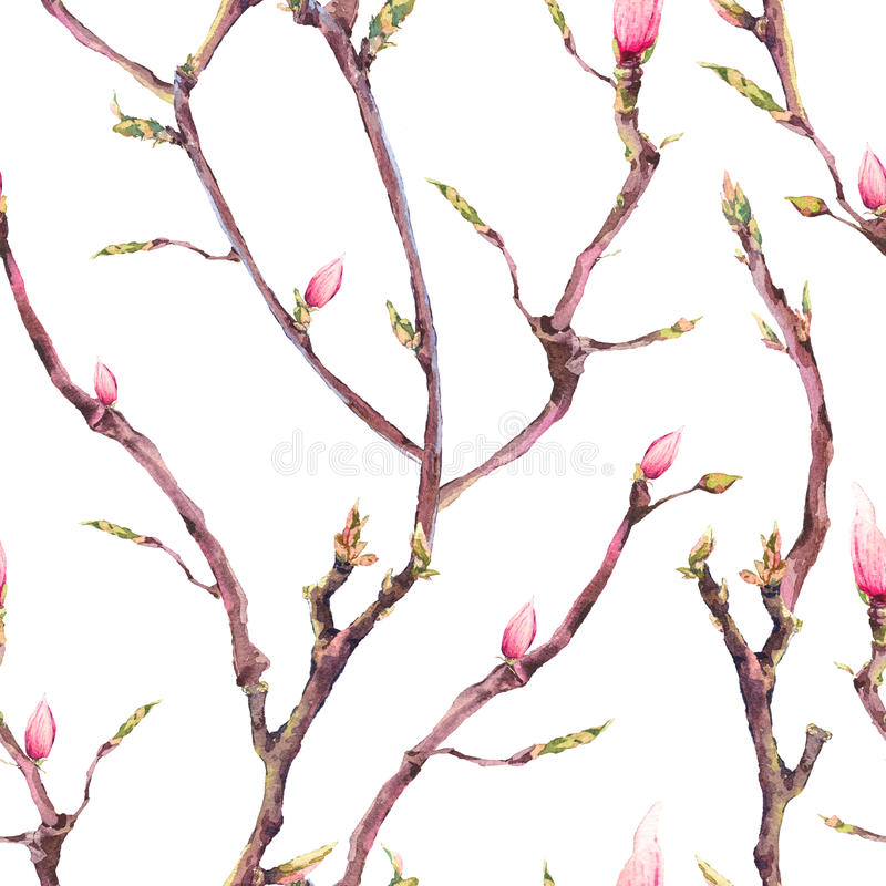 Seamless Pattern with Blooming Tree Branches stock illustration