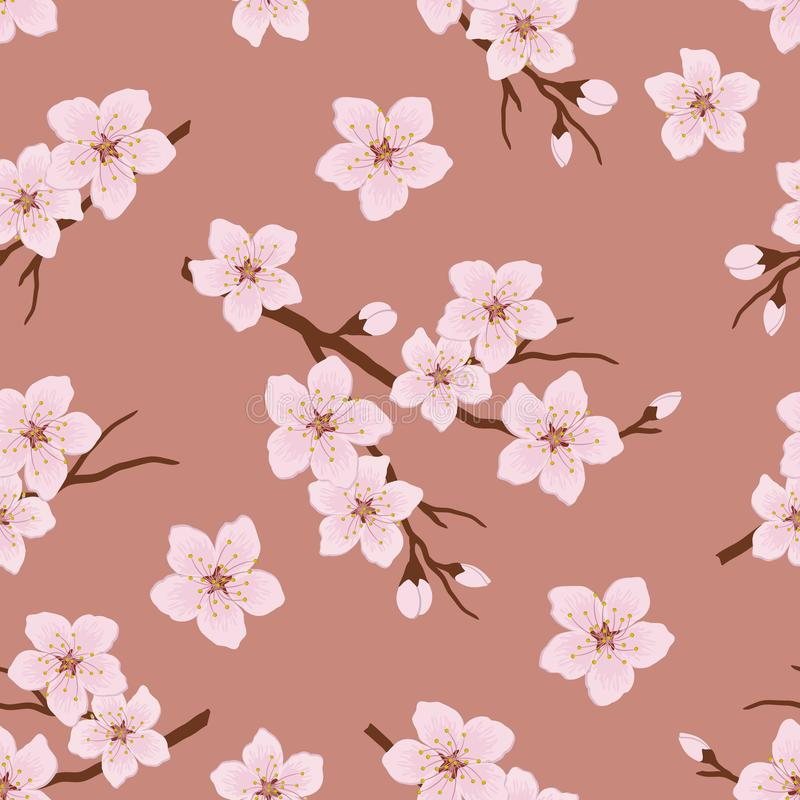 Seamless pattern with blossoming branches of cherry stock illustration