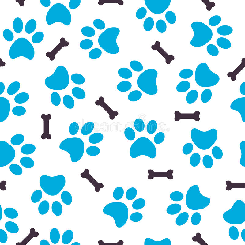 Download Seamless Pattern Of Blue Animal Paws With Bones Stock Vector