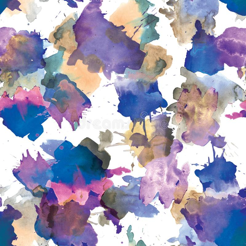 Seamless pattern of blue and brown blots. Watercolor illustration stock illustration