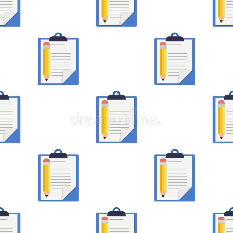 Clipboard and Pencil Icon Seamless Pattern stock illustration