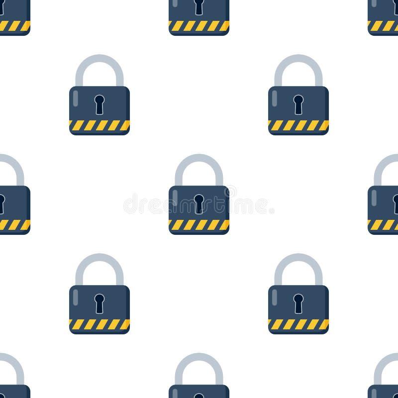 Closed Blue Padlock Icon Seamless Pattern stock illustration