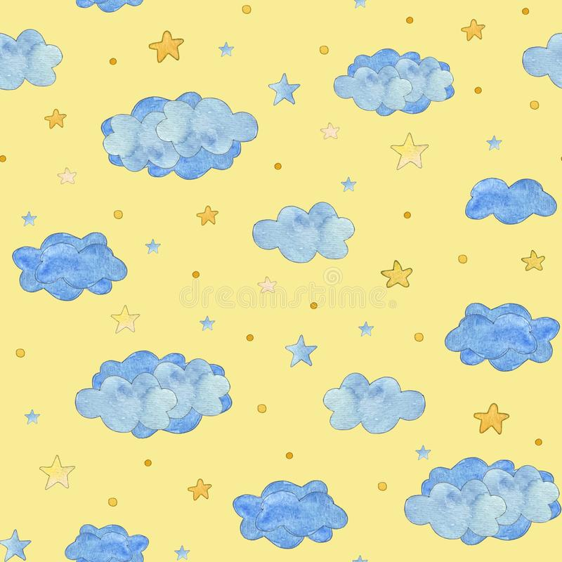 Seamless pattern with blue clouds and yellow stars, baby background. Watercolor illustration vector illustration