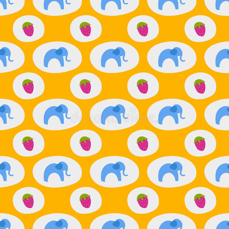 Seamless pattern of blue elephants background childrens cute african animal ornament print texture. Ethnic baby colorful fun funny patterned style fabric vector illustration