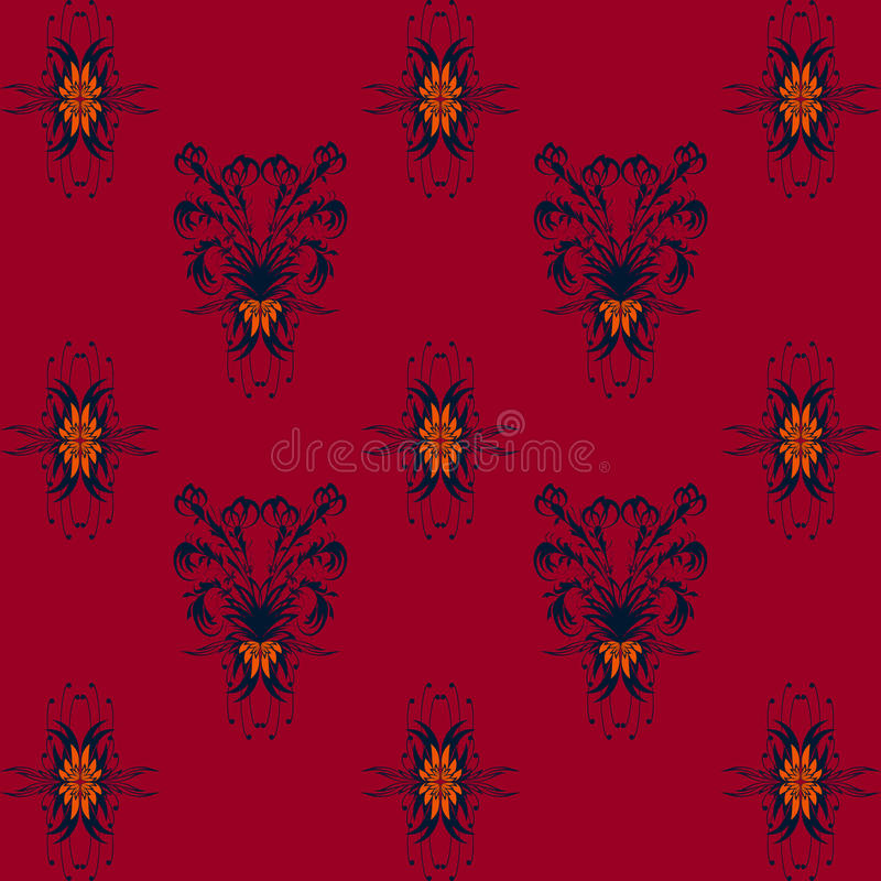 Seamless pattern with blue floral pattern on Burgundy background stock images