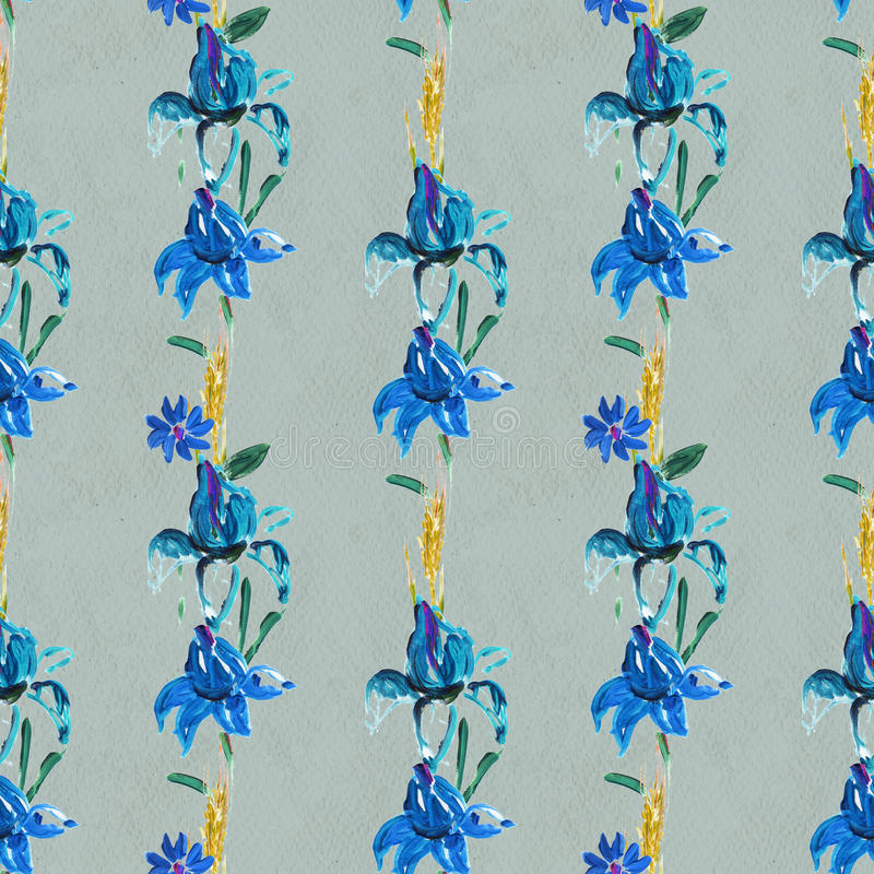 Seamless pattern with blue flowers. Floral watercolor background stock illustration
