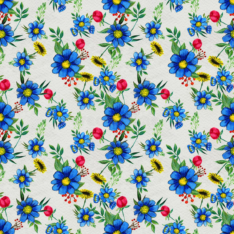 Seamless pattern with blue flowers stock illustration
