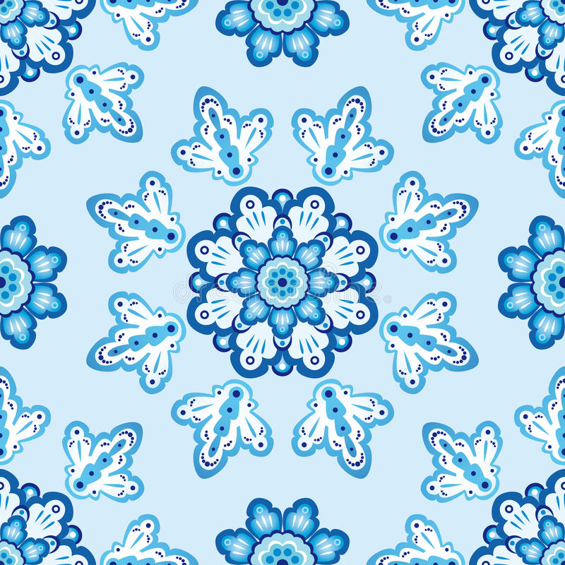 Seamless pattern with blue flowers royalty free stock photos