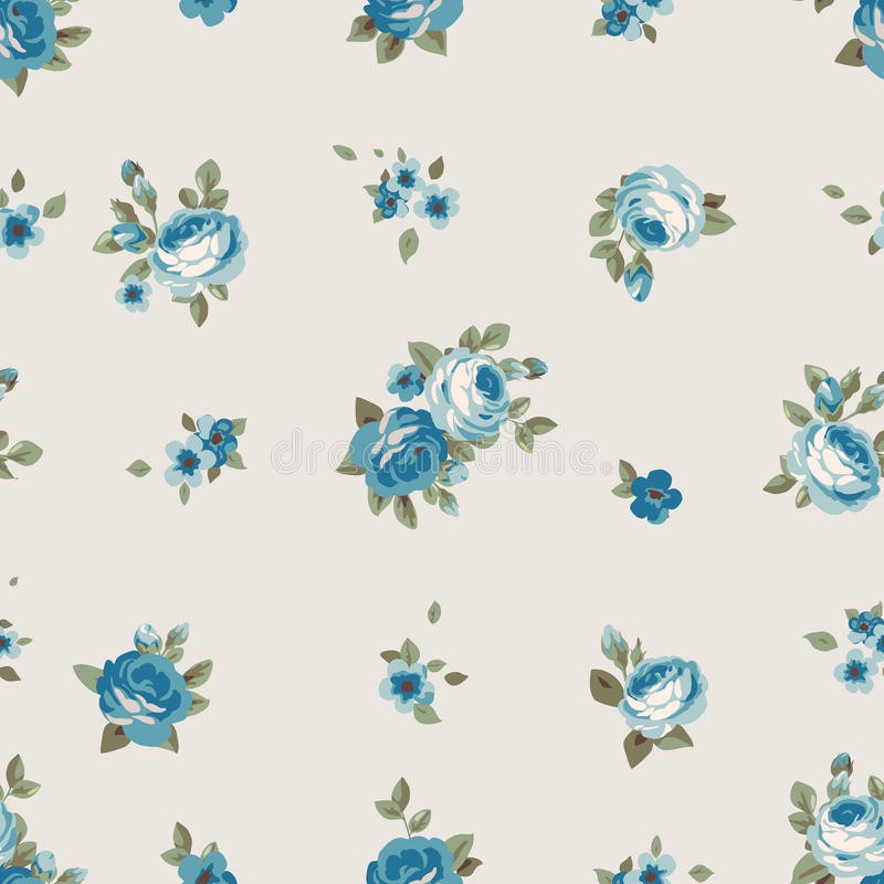 Download Seamless Pattern With Blue Flowers Vintage Floral Wallpaper Blooming Roses Stock Vector