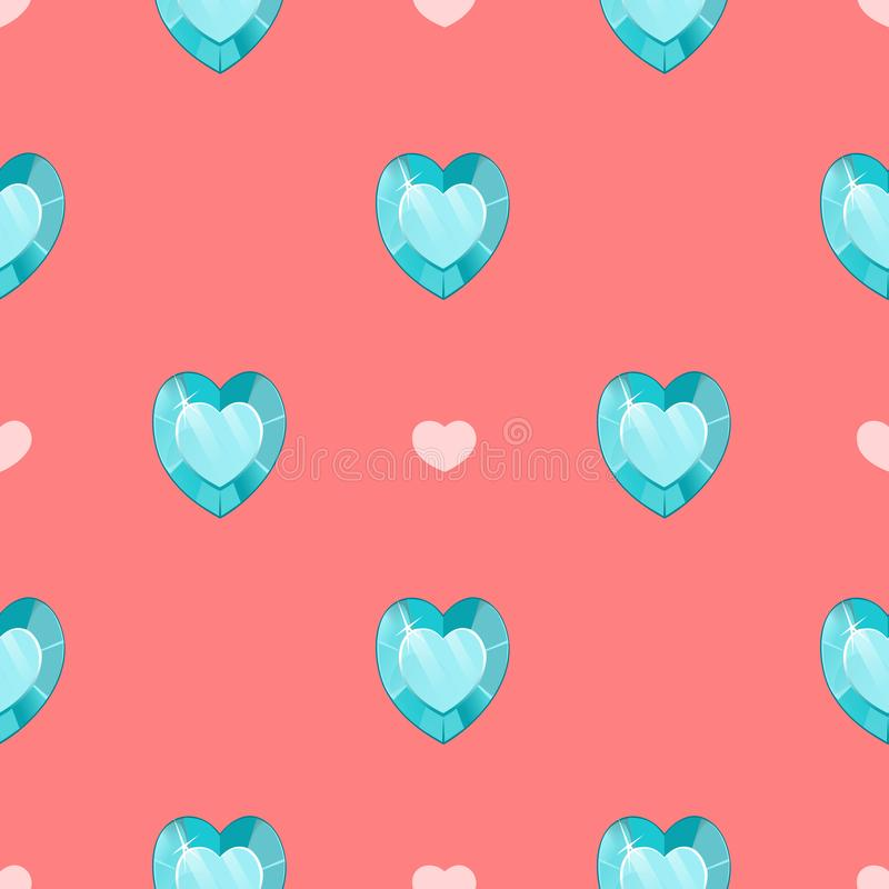Seamless pattern with blue gemstones in heart shape on pink background. royalty free illustration