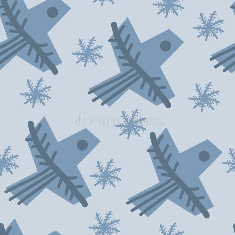 Seamless pattern with blue geometric birds and snowflakes on light isolated background. Background for holidays wallpaper, fabric. vector illustration