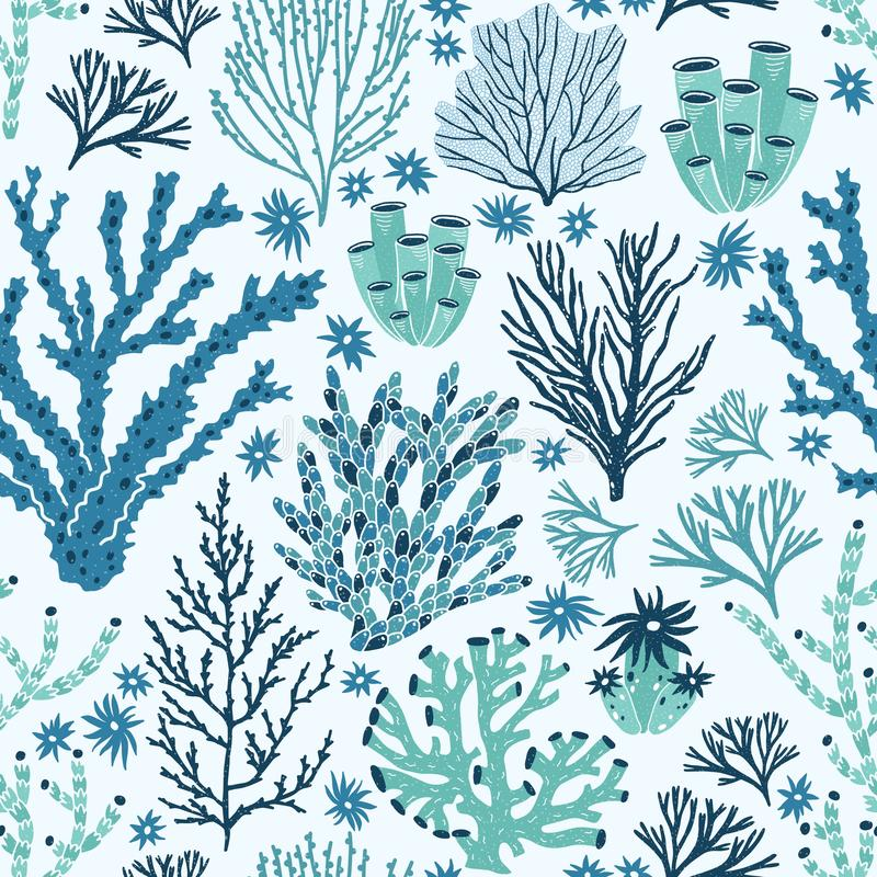 Seamless pattern with blue and green corals and seaweed. Backdrop with seabed species, underwater flora and fauna. Aquatic life. Flat decorative vector stock illustration
