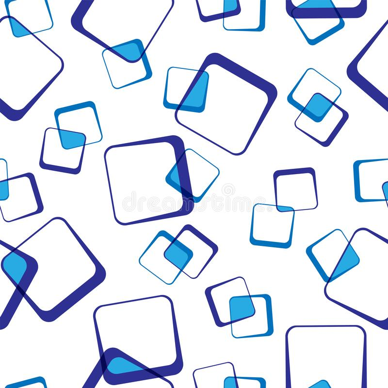 Seamless pattern of blue intersecting squares, transparent background royalty free illustration