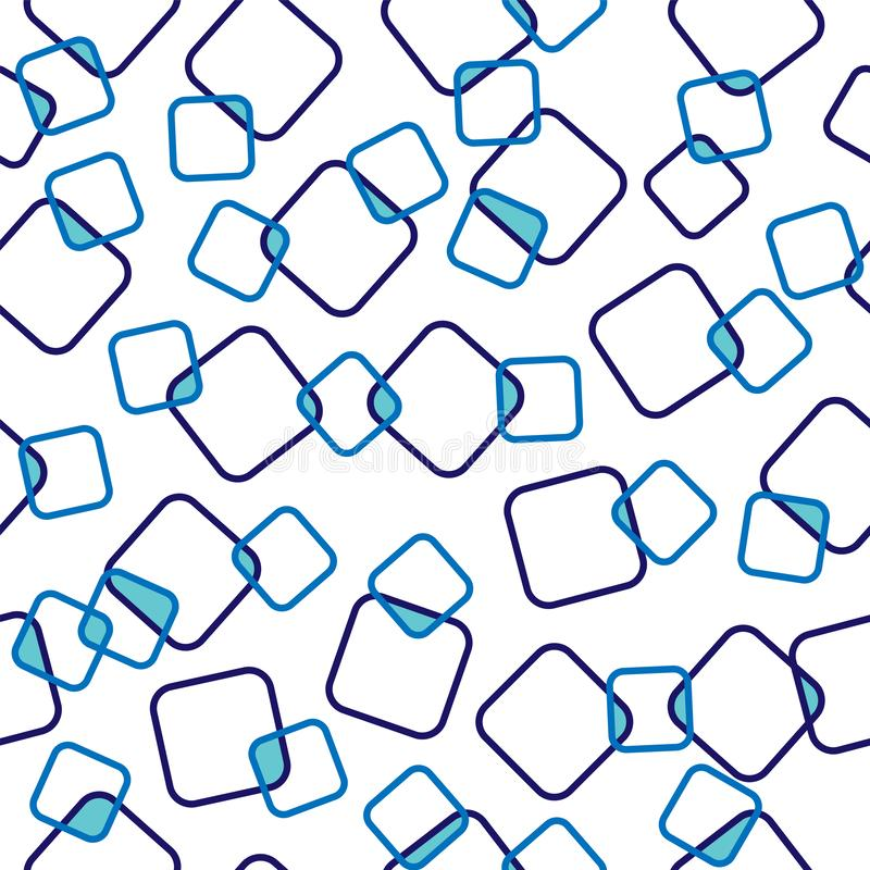 Seamless pattern of blue intersecting squares, transparent background vector illustration
